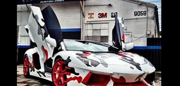"Chris Brown ""camuflajea"" su  Lamborghini Aventador"